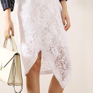 BCBGMAXAZRIA white lace skirt